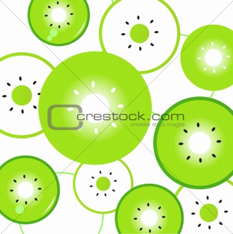 Kiwi slices vector background or pattern - green & white