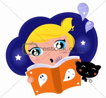 Little child has fear when reading Halloween Night Story