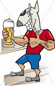 bullterrier man with glass of beer
