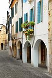 Street in Italy, terrace with flowerpots