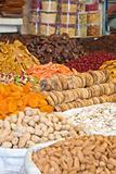 Colorful dried fruits and nuts focus on figs