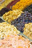 Colorful dried fruits and dates