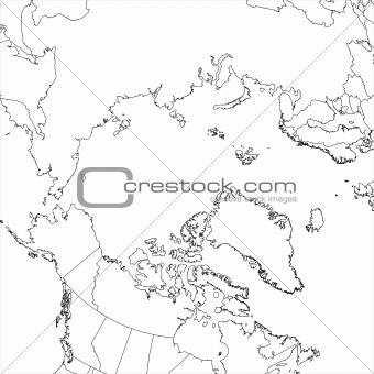 Blank Arctic Ocean Map