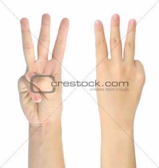 showing number three of woman hand isolated on white background