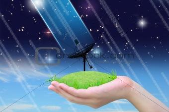 satellite dish connect in women hand