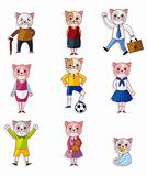 cartoon cat family icon set
