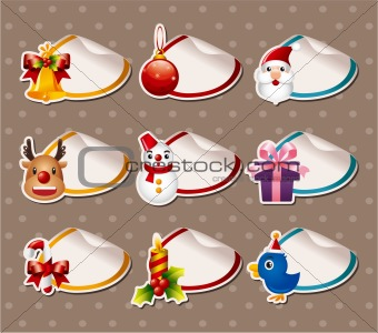 Cartoon Xmas Label Stickers