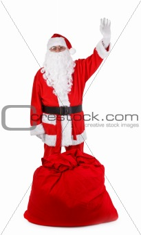 Funny santa claus isolated on white