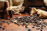Coffee beans in vintage setting