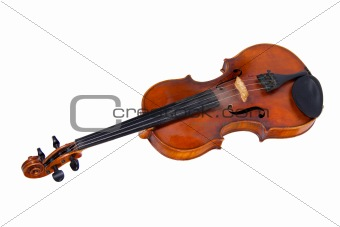 Old violin, isolated on a white background