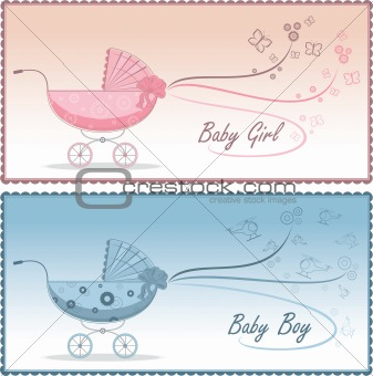 Baby prams, vector illustration