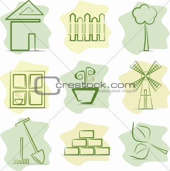 Contryside life and gardening (icons), vector illustration