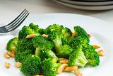 fresh sauteed broccoli and almonds