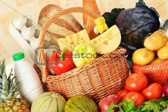 Groceries in wicker basket