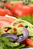 Composition with vegetable salad with olive