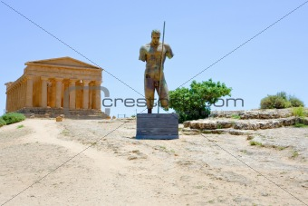 bronze statue and Temple of Concordia
