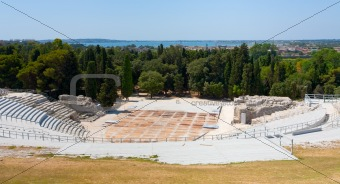 antique Greek Theater and Ionian Sea, Sicily