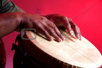 African Djembe With Human Hands