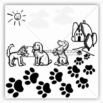 Three dogs enjoying outside
