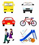 School Transportation Icons