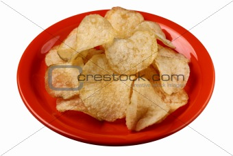 Potato crisps on a plate with clipping path