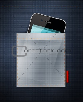 Cell phone in a pocket of jeans. iPhone in jeans, denim background
