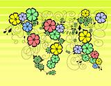 Abstract floral ornament with background