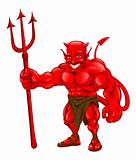 Devil standing with pitchfork