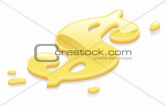 Liquid gold dollar symbol sign