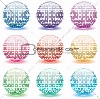 3d shiny globes of different colors