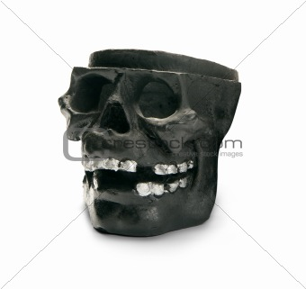 Black skull, isolated on white background