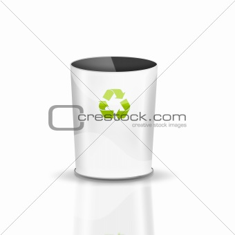 Empty Recycle Bin on white background