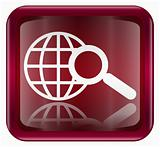 globe and magnifier icon dark red, isolated on white background