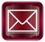 postal envelope icon dark red, isolated on white background