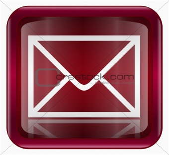 postal envelope icon dark red, isolated on white background