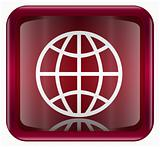 Globe icon dark red, isolated on white background