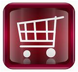 shopping cart icon dark red, isolated on white background