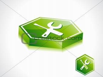 abstract green setting button