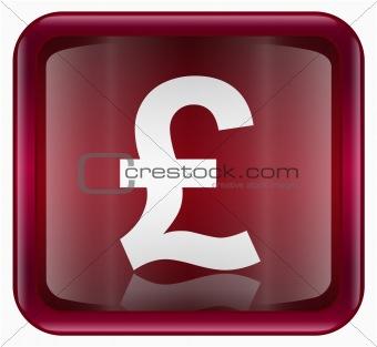 Pound icon dark red, isolated on white background