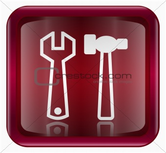 Tools icon dark red, isolated on white background