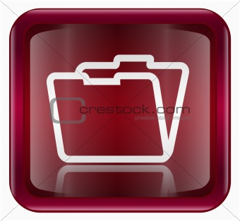 Folder icon dark red, isolated on white background