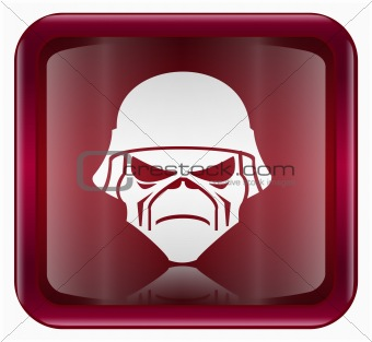 Army button dark red, isolated on white background