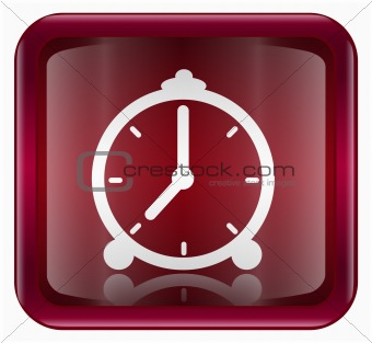 Clock icon dark red, isolated on white background
