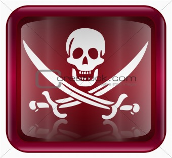 Pirate icon red, isolated on white background