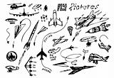 hand drawn flying vehicles icons