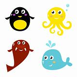 Cartoon vector animals collection - isolated on white