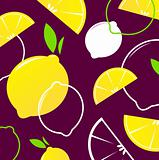 Vector Lemon slices retro background or pattern - yellow & dark