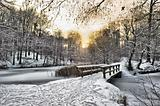 Wooden bridge covered by snow