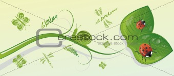 Green branch with leaves and insects, vector illustration