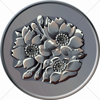 vector Japanese one hundred Yen coin